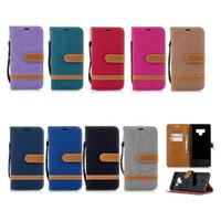 iphone jeans case toptan satış-Retro Denim Jeans Tuval Hibrid Cüzdan Kılıf iphone X XR XS Max 8 7 6 Samsung S7 Kenar S8 S9 Artı Not 9 J2 Pro A6 A8 J4 J6 2018