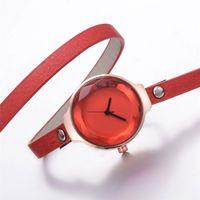 часы сплошной группы оптовых-Watches Women Fashion Watch 2018 PU Leather Band Bangle Watch Solid Color Women Clock  Ladies Quartz Wristwatches