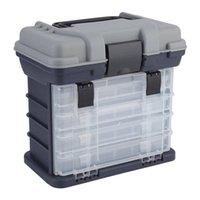 almacenamiento de señuelos al por mayor-Cajón de pesca de 4 capas Caja de aparejos de pesca Cajón de herramientas de almacenamiento con manija para almacenar anzuelos, señuelos