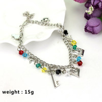 Wholesale lobster key chain - Fashion Kingdom Hearts Bracelets Chain Ancient Silver Crown Key Charms Collection Bracelets Cuffs Jewelry Drop Shipping