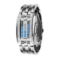 reloj binario led de acero al por mayor-Reloj Hombres Mujeres Tecnología futura Binario Venta caliente Negro Acero inoxidable Fecha Digital LED Pulsera Relojes deportivos