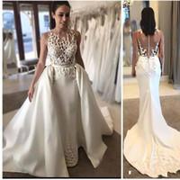Wholesale sleeveless jewel neckline wedding dresses - Sexy Mermaid Wedding Dresses With Applique Sheer Neckline Sleeveless Wedding Gowns With Detachable Train Custom Made Sheer Back Bridal Gowns