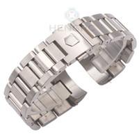 balck watch toptan satış-22mm Watch Band Bilezik Gümüş Balck Katı Paslanmaz Çelik Lüks Kavisli Sonu Saat Kayışı Kayış Metal Watch Band Aksesuarları
