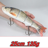 Wholesale big crankbait - 25cm 135g New Artificial Bait Big Fishing Lure 4 Segment Sinking Swimbait Crankbait Hard Bait Slow Big Game Fish Lure Hooks