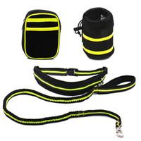correa amarilla al por mayor-Mascotas al aire libre Dog Leash Coupler Double Dog Walker Plástico Elástico Two Dogs Leash Splitter (Negro con amarillo)