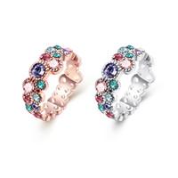 ingrosso regalo romantico della latta-Il nuovo arrivo Hollow Tin Cluster Rings lega con colore romantico zircon moda gioielli che fanno per le donne regali consegna gratuita AKR044