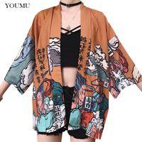 ingrosso giapponese cappotti di stile donna-Donna Kimono Giacca Outwear 3/4 maniche stile giapponese stampato sciolto Tops Harajuku Girl Streetwear Vintage Coat Estate 226-126