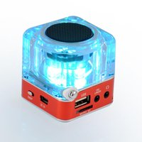 Wholesale mini speaker fast shipping - 2018 TT-029 Portalble Speakers Subwoofer LED Crystal LCD Display Mini Music MP3 Player Loud Spearkers FM SD TF Card Fast DHL Shipping