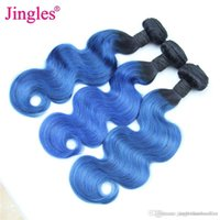 Wholesale blue ombre hair online - Jingleshair Ombre Body Wave Human Hair Bundles B Blue Brazilian Virgin Human Hair bundles Peruvian Malaysian Raw Inian Toned weft cheap