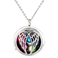 Wholesale plastic pendant beads online - K1181 mm Pearl Beads Cage Silver mm Round Angel Wing Magnetic Floating Locket quot Chain Pendants Women Charms