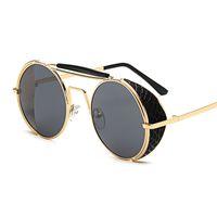 круглые солнцезащитные очки мужское цветное зеркало оптовых-Cool Round солнцезащитные очки для женщин и мужчин Стимпанк очки цветная пленка отражающее зеркало лягушки персонализированные солнцезащитные очки ветрозащитные очки Good vision