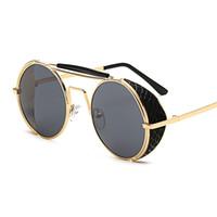 gafas de sol de viento al por mayor-Gafas de sol redondas para mujeres y hombres Gafas Steampunk, película de color, espejo de rana, gafas de sol personalizadas, gafas de viento Buena visión