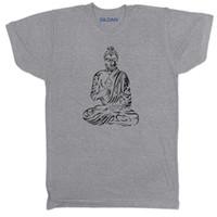 buddha japonês venda por atacado-BUDDHA BUDISTA PAZ MEDITAÇÃO DE YOGA BUDISMO JAPONÊS CHINÊS DOS HOMENS T Camisa