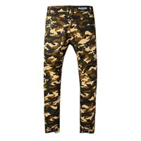 Wholesale army print jeans - Balmain clothing designer pants slp Camo Panther print Army green destroyed mens slim denim straight biker skinny jeans men ripped jeans