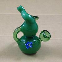 flores de lima al por mayor-Mini tubo de humo del bong que viaja del agua del bubbler de cristal de la mini de 3.3 pulgadas con color verde lima de la flor