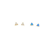 küpeler mavi taşlar toptan satış-Pembe beyaz mavi yangın opal damızlık 2.5mm mini taş prong ayarı tek taş sevimli güzel 925 ayar gümüş küpe