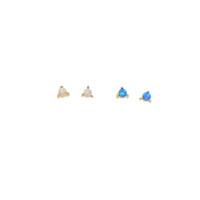 925 silber weißgold set großhandel-rosa weiß blau Feueropal Stud 2,5 mm Mini Stein Zinke Einstellung einzigen Stein niedlich schöne 925 Sterling Silber Ohrring
