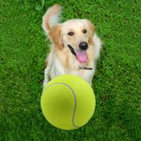 ingrosso grande masticazione-Vendita calda 9.5 pollici grande palla da tennis gonfiabile gigante giocattolo pet masticare cane da compagnia giocattoli interattivi