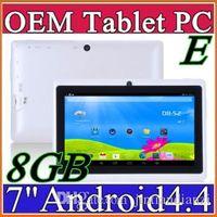 q8 cámara dual android al por mayor-1X Allwinner A33 Quad Core Q88 Q8 Tablet PC Dual Camera Flashlight Pantalla capacitiva de 7 pulgadas Android 4.4 512MB 8GB Wifi OTG Google play A-7PB