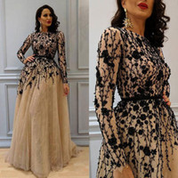 Wholesale Vintage Full Length Prom Dresses - Gorgeous Beaded Evening Dresses Long Sleeves Full Lace A-line Prom Dress Champagne Custom Made Special Occasion Dress