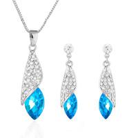 conjunto completo de joyas al por mayor-Rhinestone lleno Mar Pendientes de Cristal Collares Joyas Conjuntos Nupciales Boda Joyería de Plata O Oro Para Las Mujeres 8d9