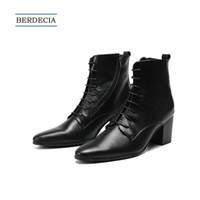 zapatos del club del brillo al por mayor-2018 moda de lujo aumento de altura hombres botas de cuero genuino con cordones de punta estrecha hombres botines tamaño grande Club Stage zapatos 38-47