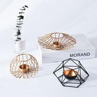 bougeoirs en fer achat en gros de-Nordic Style 3D bougeoir fer géométrie bougeoir bougeoir ornements home decor cadeaux d'anniversaire de mariage fournitures de fête
