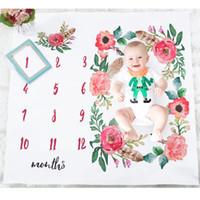 photo de fille de bébés achat en gros de-Couverture de bébé Enfants Photo Couverture Garçons Filles Photo Couvertures Wrap Anniversaire Fleurs Figure Accessoire Parents Ornements 19my gg