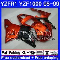 laranja r1 venda por atacado-Carroçaria Para YAMA YZF R YZF1000 YZF-R1 1998 1999 Armação 235HM.31 YZF-1000 YZF R1 98 99 Laranja preto YZF 1000 YZFR1 98 99 Carenagem