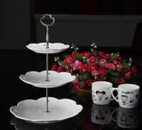 Wholesale cake tiers - 3 tiers cake stand rods Big flower  cake stand disposable handles, 100 sets  bag. cake stand handle SN592