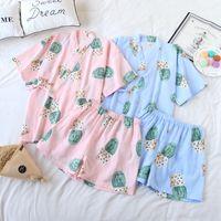 ingrosso yukata-Kimono giapponese Yukata Pigiama Kimono Top Pantaloni corti Imposta cotone Ragazze Sleepwear Accappatoio per il tempo libero Kawaii stile allentato