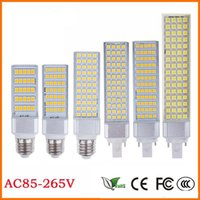 lámpara led horizontal al por mayor-Luz plana E27 E14 G24 G23 SMD5050 Bombilla de maíz LED Enchufe horizontal Lámpara de luz LED 10W 14W 18W 22W 24W 26W 180degree 85-265V