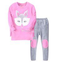 ropa de bebé zorro al por mayor-2018 nuevo bebé fox pijamas trajes algodón niñas fox imprimir top + pants 2 unids / set de dibujos animados para niños Ropa Conjuntos C3375
