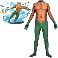 Wholesale zentai hero cosplay online - Adult Men Kids Boy Cosplay Aquaman Hero Halloween Anime Moive Seperhero Costume Zentai Jumpsuit Bodysuit Suit Plugsuit