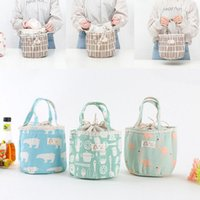 Wholesale Thermal Food Lunch Box - Portable Bear Flamingo Insulated Drawing String Lunch Bag Cartoon Animal Picnic Pouch Bag Thermal Food Lunch Box Bag 6 Styles OOA4570