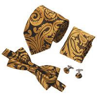 Wholesale men wedding ties hankies for sale - Luxury Mens Tie Designer Tie Gold Paisley bowtie silk Woven with Handkerchief Cuffs Wedding Dress Fashion LH D