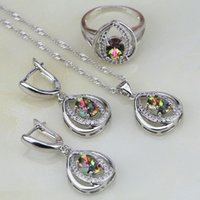 Wholesale Mystic Stone Rings - whole sale925 Silver Jewelry Mystic Rainbow Fire Stones White CZ Jewelry Sets For Women Wedding Necklace Earrings Pendant Ring 3PCS