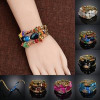 Wholesale multi color beaded bracelets - European And American New Color Stone Beaded Elastic Multi-Layer Bracelet Retro National Wind Agate Stone Winding Bracelet Free DHL H73F
