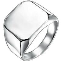 ingrosso gioielli semplici-Dimensione 4-15 in acciaio inox Classic Plain Simple Signet Ring Motor Biker Punk Hiphop Laurea School Party Jewelry Pinky Ring