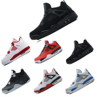Wholesale money cool - 2018 Basketball Shoes 4 Man shoes 4s Pure Money Bred Fire Red White Cement Royalty Thunder Kaws Cool Grey Sneakers size us 8-13