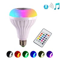 Wholesale Led Wireless Speakers - RGB RGBW LED Light Bulb E27 12W Wireless Bluetooth Speaker Music Playing 16 Color Lamp Bulb Lighting Muis Bulb With Remote Controller