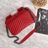 Wholesale popular gold chain styles - Ladies Women Leather Shoulder Bags Chains bag High Quality cow Genuine Messenger Bag Party Bags Casual fashional Popular Handbag red black