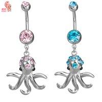 goldkrake großhandel-KUNIU Neue Mode Luxus Zirkon Bauchnabelpiercing Octopus Bell Button Ringe Bauchnabelpiercing Piercing Körperschmuck für Frauen P163