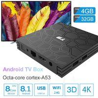 tv hdmi bluetooth venda por atacado-Caixa de tv android 4 gb 32 gb android 8.1 caixa de tv bluetooth wifi 3d filmes de streaming de vídeo t9 caixa android media player