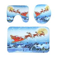 sockel dekorationen großhandel-HOT !!! 1 Satz Badezimmer Rutschfeste Weihnachten Stil Sockel Teppich + Deckel Toilettendeckel + Badematte Badezimmer Dekoration