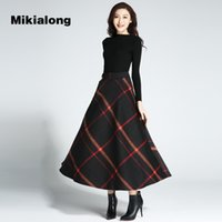 Wholesale Wool Skirts Vintage - Mikialong 2017 Autumn Winter Thicken Wool Skirt Women Vintage Plaid Long Maxi Skirt for Women Petticoat A Line Jupe Femme