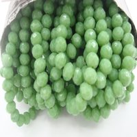 seramik kristal boncuklar toptan satış-145 Boncuk / 4 MM 98 Boncuk / 6 MM 70 Boncuk / 8 MM Apple Yeşil Rondelle Faceted Seramik Cam Kristal Boncuk DIY Charms Takı Yapımı Için