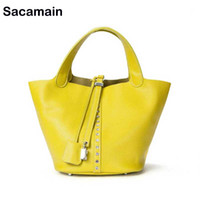 4ebced7180ca soft leather handbags yellow orange Australia - Women White Bags New Leather  Diamonds Handbags Bucket Casual