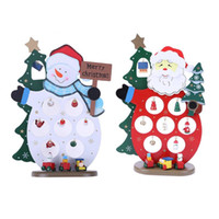 Wholesale black santa ornament - Wood Christmas Tree Decorations Santa Claus Snowman Kids Gift Craft Display navidad new Year christmas decorations for home