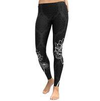 Wholesale digital printing yoga pants resale online - Women Lotus Digital Print Yoga Legging Sports Workout Gym Leggings Fitness Running Sports Pants Stretch Trouser Home Clothing OOA5947